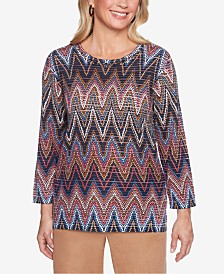 Alfred Dunner Petite News Flash Printed Shine Sweater