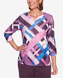 Alfred Dunner Petite Colorblocked 3/4-Sleeve Top