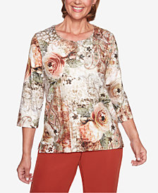 Alfred Dunner Petite Autumn in New York Roses Paisley Printed Embellished Top
