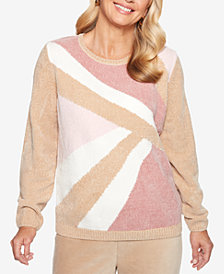 Alfred Dunner Petite Home for the Holidays Asymmetrical Colorblocked Sweater