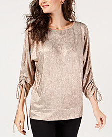 JM Collection Metallic Cinched-Sleeve Top, Created for Macy's