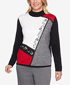 Alfred Dunner Petite Sutton Place Embellished Colorblocked Sweater
