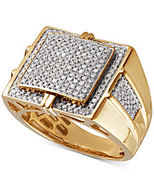 Men's Diamond Pavé Ring (1 ct. t.w.) in 10k Gold