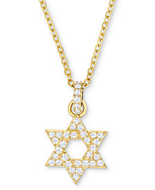 "Swarovski Silver-Tone Pavé Star of David 16-1/2"" Pendant Necklace"