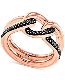 Swarovski Rose Gold-Tone Pavé Chain Ring