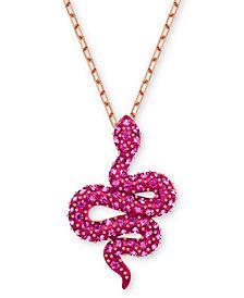 """Swarovski Rose Gold-Tone Pavé Snake Pendant Necklace, 14-4/5"""" + 3"""" extender"""
