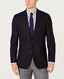Tommy Hilfiger Men's Modern-Fit TH Flex Stretch Navy/Brown Plaid Sport Coat