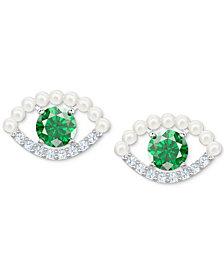 Swarovski Silver-Tone Crystal & Imitation Pearl Evil Eye Stud Earrings