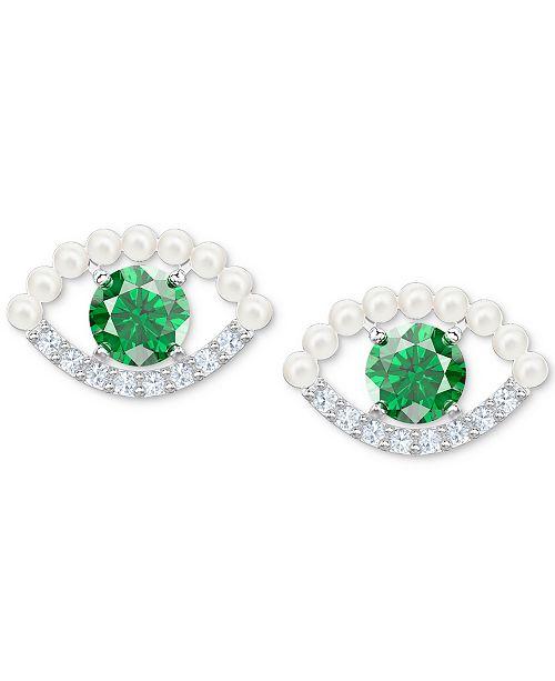 23ffcb449 ... Swarovski Silver-Tone Crystal & Imitation Pearl Evil Eye Stud Earrings  ...
