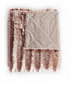 "Subtle Striped Super Soft Faux Fur Blanket - 87"" x 94"""