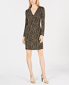 Calvin Klein Metallic-Knit Ruched Dress