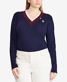 Lauren Ralph Lauren Plus Size Striped-Trim Sweater