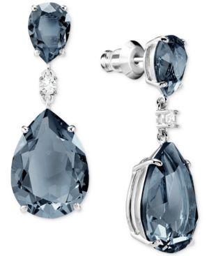 SWAROVSKI Silver-Tone Crystal Drop Earrings in Teal