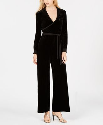 Calvin Klein Velvet Surplice Jumpsuit Pants Women Macys