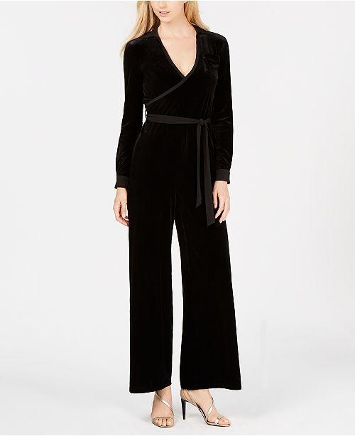 f941c966839b Calvin Klein Velvet Surplice Jumpsuit   Reviews - Pants   Capris ...