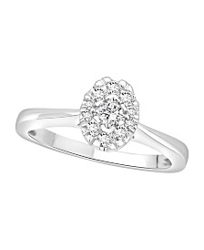 Diamond Oval Halo Ring (1/3 ct. t.w.) in 14k White Gold