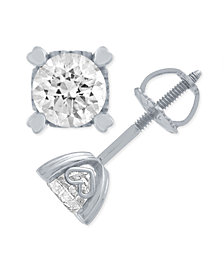 Diamond Stud Earrings in Heart Shape Prongs (1/2 ct. t.w.) in 14k White Gold