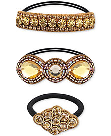 Deepa Gold-Tone 3-Pc. Set Crystal & Bead Ponytail Holders