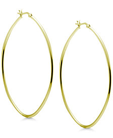 Essentials Extra Large Skinny Oval Hoop Earrings in Gold-Plate