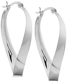 Essentials Polished Twist Hoop Earrings in Fine Silver-Plate