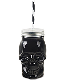 Home Essentials Skull Beverage Jar with Lid & Straw