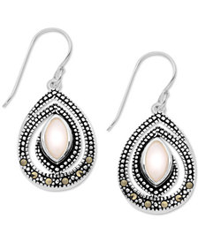 Marcasite & Pink Shell Spiral Teardrop Drop Earrings in Fine Silver-Plate