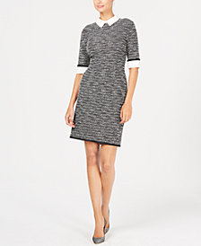 Ivanka Trump Embellished-Collar Knit Sheath Dress