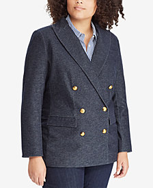 Lauren Ralph Lauren Plus Size Denim Twill Blazer