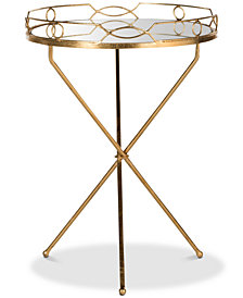 Cherris Mirror Round End Table, Quick Ship