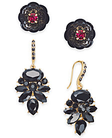 I.N.C. Day & Night Two-Tone 2-Pc. Box Set Stud and Drop Earrings, Created for Macy's