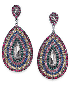 "I.N.C. Large Hematite-Tone Multicolor Crystal Drop Earrings 1.75"", Created for Macy's"