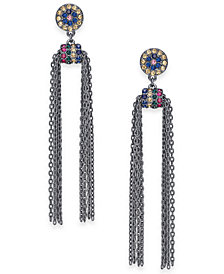I.N.C. Hematite-Tone Multicolor Pavé & Chain Tassel Drop Earrings, Created for Macy's