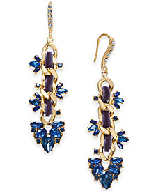 I.N.C. Gold-Tone Stone & Crystal Link Drop Earrings, Created for Macy's