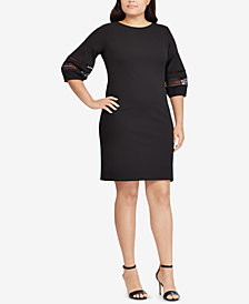 Lauren Ralph Lauren Plus Size Lace-Trim Shift Dress