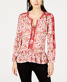 Lucky Brand Tasseled Mixed-Print Top
