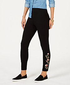 Style & Co Petite Embroidered-Trim Leggings, Created for Macy's