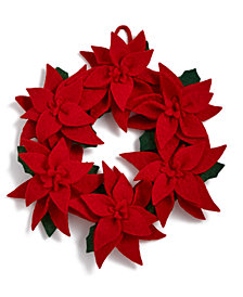 Global Goods Partners Felted Red Poinsettia Wreath
