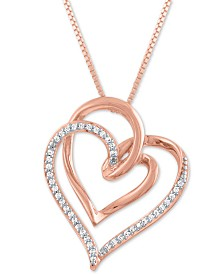 """Diamond Intertwining Hearts 18"""" Pendant Necklace (1/10 ct. t.w.) in 14k Rose Gold-Plate"""