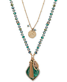 "lonna & lilly Gold-Tone Pavé, Bead & Chain Tassel 2-in-1 Pendant Necklace, 30""/34"" + 3"" extender"