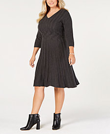 Connected Plus Size Textured Sweater Dress