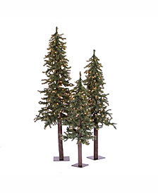 4' 5' 6' Natural Alpine Artificial Christmas Tree Set with 500 Multi-Colored Lights