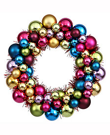"12"" Multi-Colored Shiny/Matte Ball Wreath"
