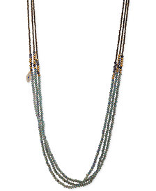 "lonna & lilly Gold-Tone Pavé Evil Eye Beaded 36"" Strand Necklace"