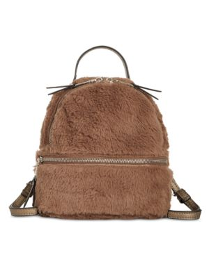 STEVE MADDEN Mini Faux Fur Convertible Backpack - Ivory in Natural