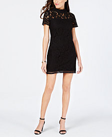 Vince Camuto High-Neck Lace Shift Dress