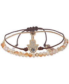 lonna & lilly Gold-Tone Crystal Hamsa Hand Bead and Cord Bolo Bracelet, Created for Macy's