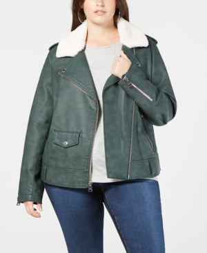 Levi's Plus Size Faux-leather Fleece-trimmed Moto Jacket In Army Green
