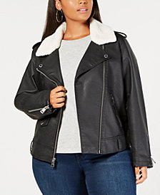 Levi's® Plus Size Faux-Leather Fleece-Trimmed Moto Jacket