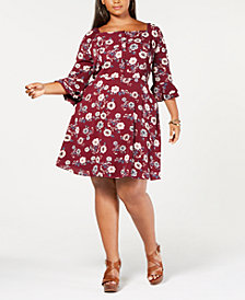 Monteau Trendy Plus Size Floral-Print A-Line Dress