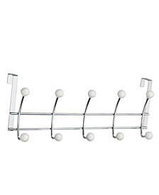 Five Hook Over The Door, White Porcelain Ball /Chrome